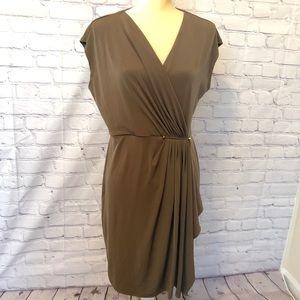 Michael Kors surplice olive green dress